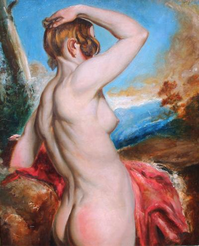 William Etty Female Nude with Red Drapery