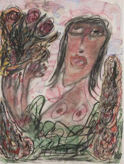 Thornton Dial Woman with Bouquet of Flowers 1990