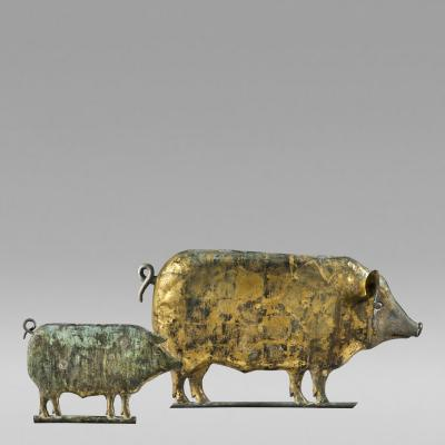Large and small size pig weathervanes c 1872 1900