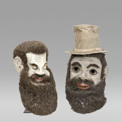 Paper Mache Trust Ritual Masks 2 American Late 19th early 20th century