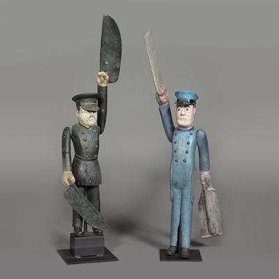 Policeman and Soldier Whirligigs Late 19th century