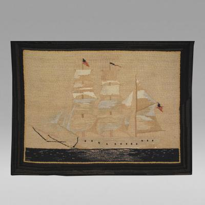 American Ghost Ship Stocking Hooked Rug c 1920