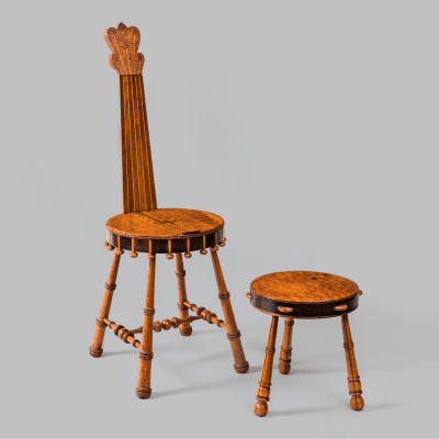 Banjo Chair With Tambourine Footstool