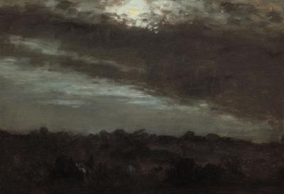 Lockwood De Forest Moonlight Above Clouds and Treeline