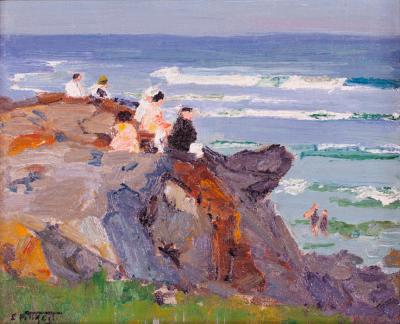Edward Henry Potthast By the New England Seashore