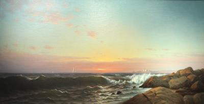 Francis Augustus Silva Sunrise with Rocky Shore by Francis A Silva c 1875