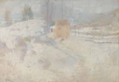 John Henry Twachtman Barn in Winter Greenwich Connecticut c early 1890s