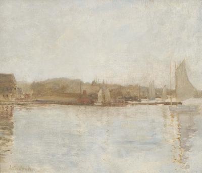 John Henry Twachtman Harbor Scene Landscape with River