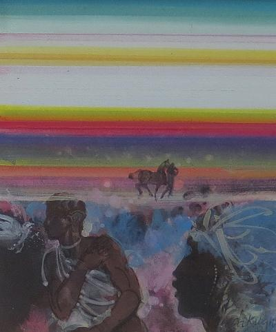 Avel C deKnight Landscape with Figures and Horse c 1973