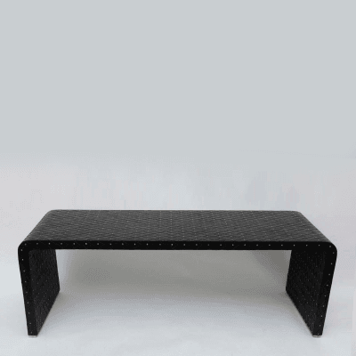 Paul Laszlo Woven Leather and Studded Bench Paul Laszlo USA c 1979