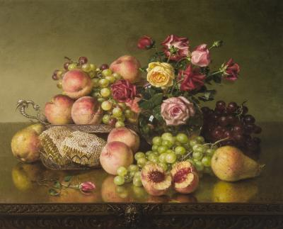 Robert Spear Dunning Still Life of Fruit Roses and Honeycombs c 1904