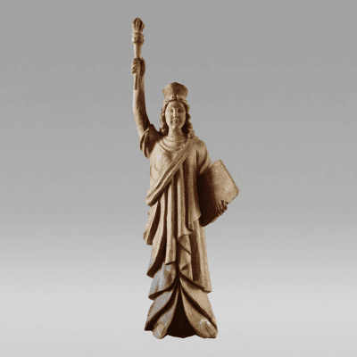 Carved Wooden Lady Liberty c 1890 1920