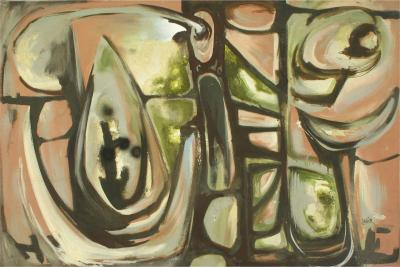 Harold A Laynor Abstract Oil on Canvas Titled Stapho Harold A Laynor c 1960s