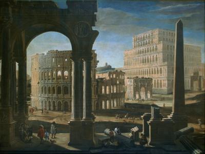 Filippo Gagliardi Capriccio with The Colosseum The Arch of Constantine and The Tower of Maecenas