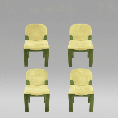 Ernesto Radaelli Four Dining Chairs in Dyed Green Oak and Suede Ernesto Radaelli for Saporiti