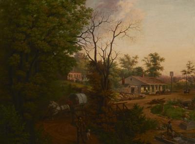 Edward Sachse Missouri Village Scene by Edward Sachse 1804 1873 circa 1865
