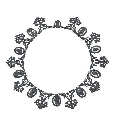 Berlin Iron Mirrored Cameo Necklace Circa 1805 1920