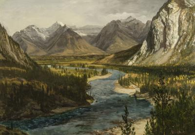 Albert Bierstadt Bow River Falls Canadian Rockies