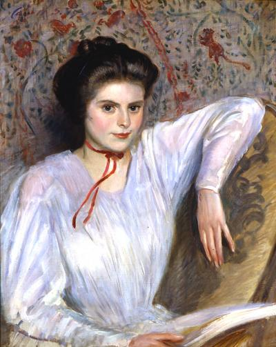 Carroll Sargent Jr Tyson Portrait of a Young Woman in a White Blouse c 1909