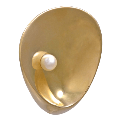 Georg Jensen Gold Brooch No 1328 with Pearl Georg Jensen