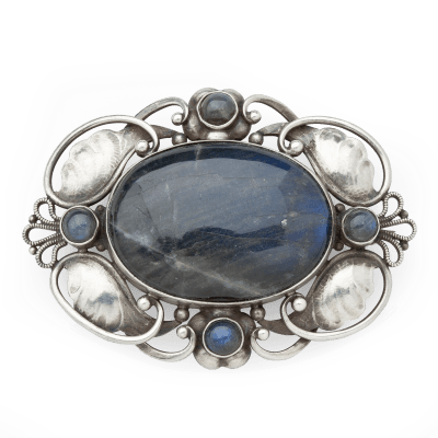 Georg Jensen Brooch No 171 with Labradorite Georg Jensen c 1945 1977