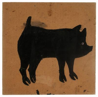Bill Traylor Black Pig With Blue Eye