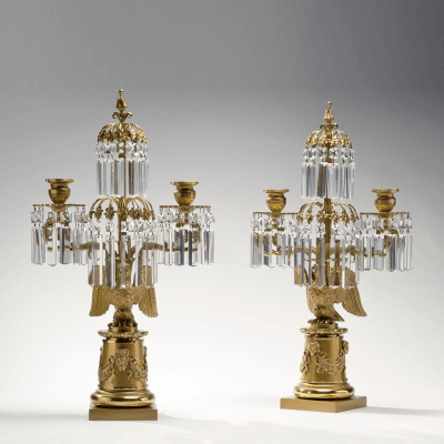 Messenger Phipson Pair of Lacquered Brass Or Molu Eagle Base Candelabra c 1820