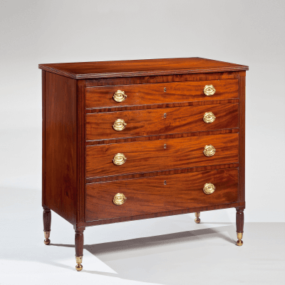 Very Fine Diminutive Federal Brass Inlaid Mahogany Chest of Drawers