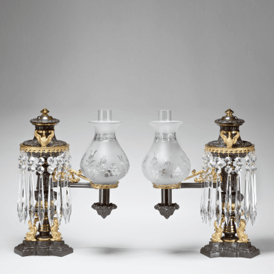 Patinated Bright Lacquered Bronze Single Arm Argand Lamps with Dolphin Bases
