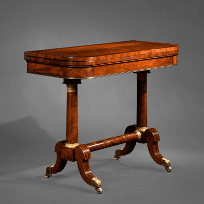 Fine Bronze Mounted Walnut Ebony Inlaid Parcel Gilt Mahogany Games Table