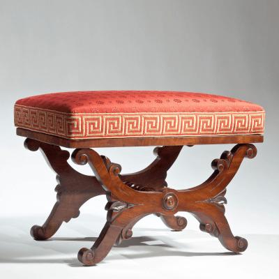 Classical Mahogany Curule Base Footstool c 1820