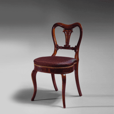 Very Fine Pair of Restauration Carved Rosewood Lotus Back Side Chairs c 1840