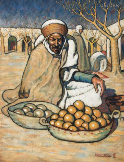 Roger Georges Andr Duval Arab Merchant Selling Oranges