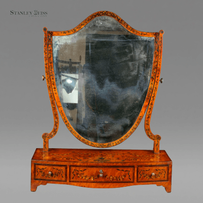 A George III Painted Satinwood Dressing Mirror England c 1800