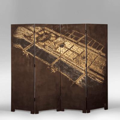 Pierre Bobot A 4 Panel Vues A riennes de Pair Lacquer Screen Pierre Bobot c 1950