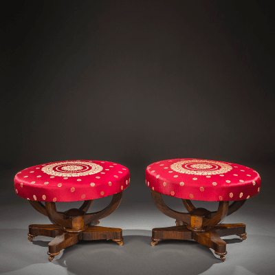 Pair Oval Double Curule Benches