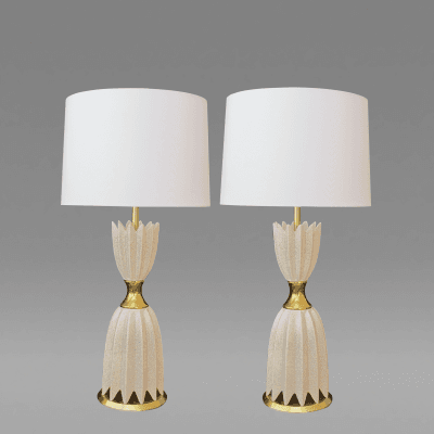A Striking Pair of American Mid Century Ruffled Ivory Ceramic Lamps 1950s