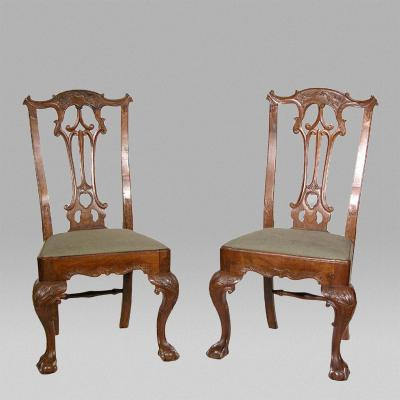 Pair of Carved Chippendale Claw Ball Side Chairs Portuguese Colonial c 1780