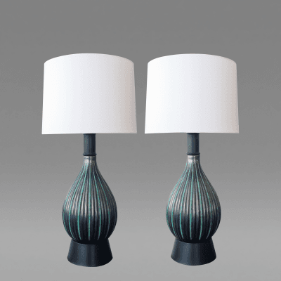 Michael Andersen and Sons A Pair of Danish Charcoal Grey and Green Glazed Ceramic Lamps by M A S