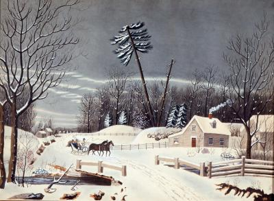 Crisply Painted Watercolor Folk Landscape in Winter