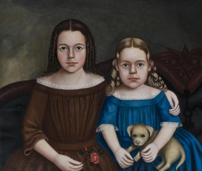 Charming Double Folk Portrait of Sisters on Sofa with Puppy