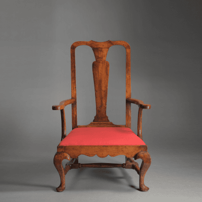 Rare and Important Queen Anne Slipper Armchair