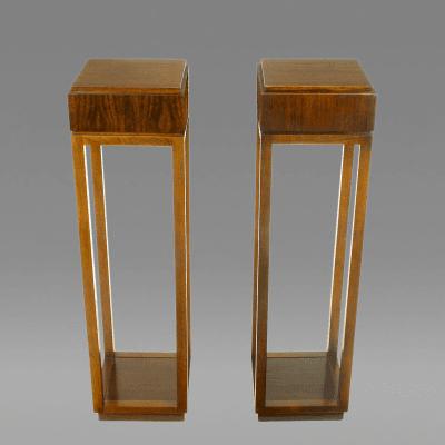Bert England Pair of Bert England East Indian Laurel Pedestals by Baker USA c 1982