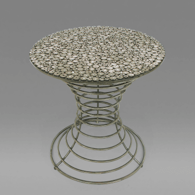 Custom Studio Center Table with Steel Rounds Top and Open Hourglass Base