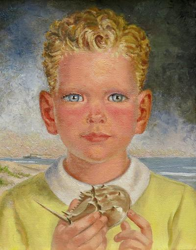Charles Baskerville Young Boy by the Sea Holding a Horseshoe Crab