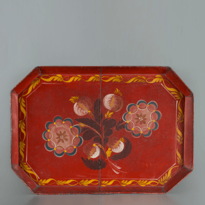 Impressive Red Tin Paint Decorated Tray