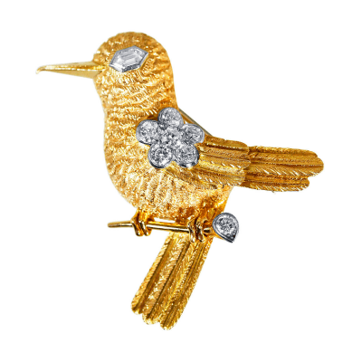 Cartier Vintage Cartier Diamond Gold Bird Brooch