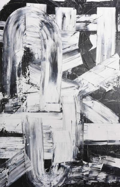 Renato Freitas Original Oil on Linen 2015 Black and White 2