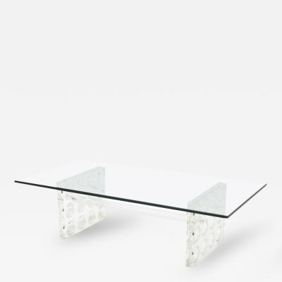 Charles Hollis Jones American Modern Lucite and Glass Low Table Charles Hollis Jones