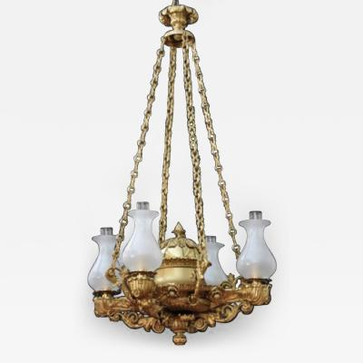 Johnston Brookes and Company A Regency Four Light Suspended Argand c 1820
